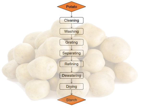 potato starch processing flow chart
