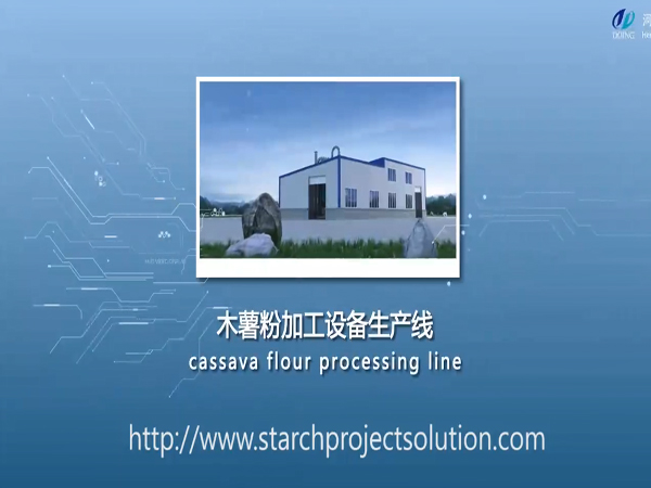 Complete cassava flour processing plant full view 3D video