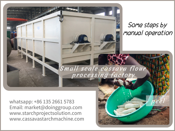 small scale cassava flour processing factory, some steps by manual operation